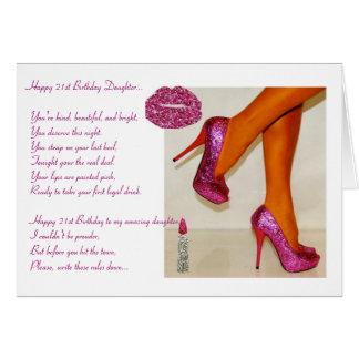 21ro cumpleaños feliz a una hija tarjeta de felicitación