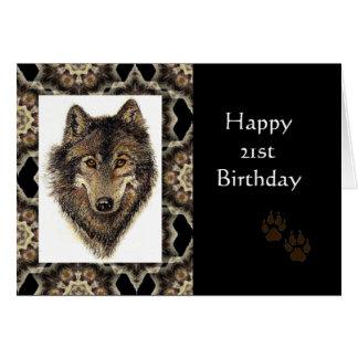 21ro cumpleaños feliz con el lobo de la acuarela tarjeta de felicitación