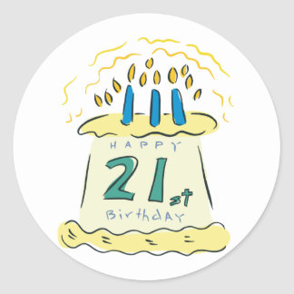 ¡21ro cumpleaños feliz! pegatina redonda