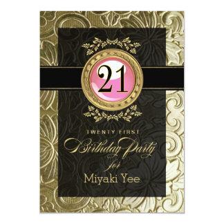"""21ro cumpleaños grabado en relieve encanto invitación 5"""" x 7"""""""