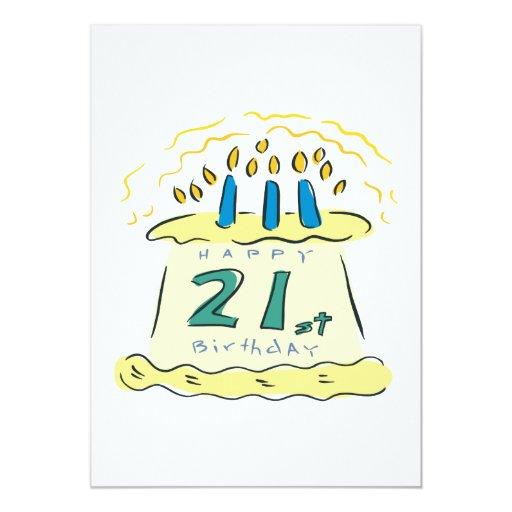 """21ro Cumpleaños Invitación 5"""" X 7"""""""