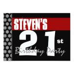 21ro Cumpleaños moderno para él negro blanco rojo Invitación 12,7 X 17,8 Cm