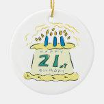 21ro Cumpleaños Ornaments Para Arbol De Navidad