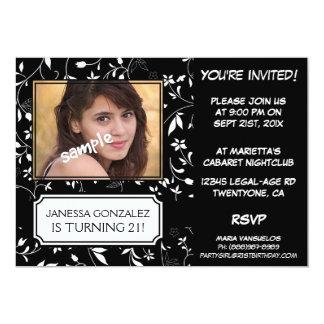 """21ro Cumpleaños para señora joven BW floral con la Invitación 5"""" X 7"""""""