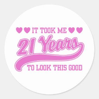 21ro Cumpleaños Pegatina Redonda