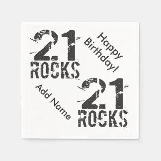 21ro cumpleaños personalizado - 21 rocas servilletas desechables