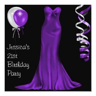 """21ro cumpleaños púrpura blanco negro del vestido invitación 5.25"""" x 5.25"""""""