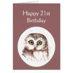 21ro Cumpleaños que le ama, humor lindo del búho Felicitación