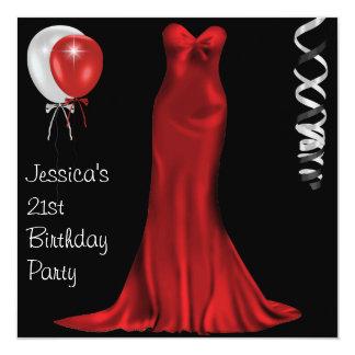 """21ro cumpleaños rojo blanco negro del vestido invitación 5.25"""" x 5.25"""""""