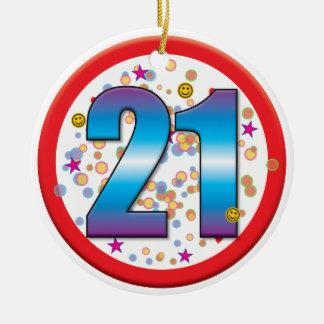 21ro Cumpleaños v2 Adorno Navideño Redondo De Cerámica