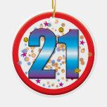 21ro Cumpleaños v2 Adorno Redondo De Cerámica