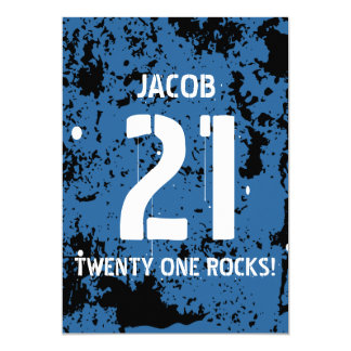 """21ro Cumpleaños veinte un Grunge AZUL F21Z de las Invitación 5"""" X 7"""""""