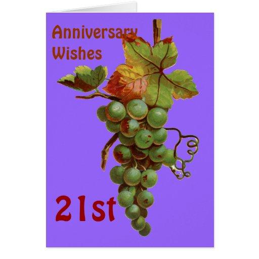 21ro Deseos del aniversario, customiseable Tarjeta De Felicitación