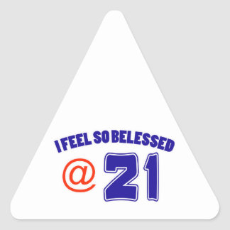 21ro Diseño del cumpleaños Pegatina Triangular