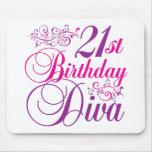 21ro Diva del cumpleaños Alfombrillas De Ratón