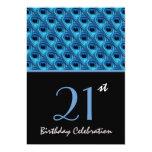 21ro El pavo real azul del cumpleaños empluma Invitación 12,7 X 17,8 Cm
