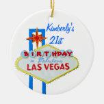 21ro Fiesta de cumpleaños Las Vegas Adorno Navideño Redondo De Cerámica