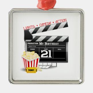 21ro Fiesta de la película del cumpleaños Adorno Navideño Cuadrado De Metal