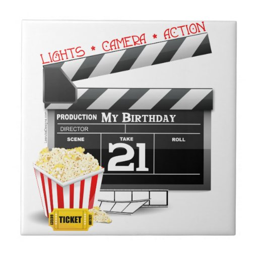 21ro Fiesta de la película del cumpleaños Azulejo Cerámica