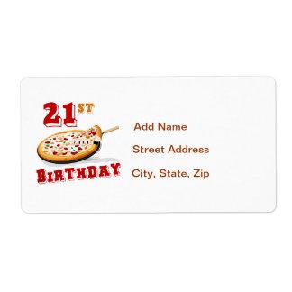 21ro Fiesta de la pizza del cumpleaños Etiquetas De Envío