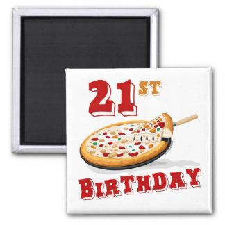 21ro Fiesta de la pizza del cumpleaños Imán Cuadrado