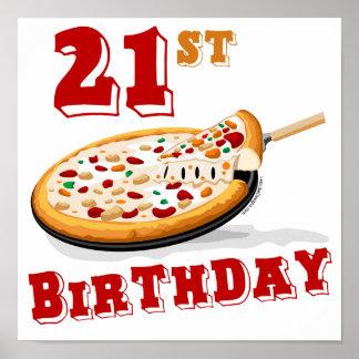 21ro Fiesta de la pizza del cumpleaños Póster