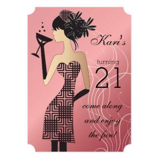 """21ro Fiesta del golpe del cumpleaños Invitación 5"""" X 7"""""""