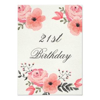 21ro Flores elegantes de la acuarela del Invitación 12,7 X 17,8 Cm