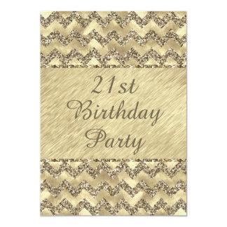 """21ro Galones del brillo del platino del cumpleaños Invitación 5"""" X 7"""""""