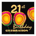 21ro Globo W1187 del oro del cumpleaños Invitación 13,3 Cm X 13,3cm