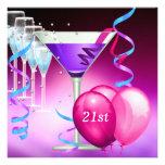 21ro Globos púrpuras rosados blancos de Martini de Invitacion Personalizada