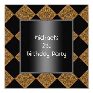 """21ro Harlequin 2 del bambú negro del cumpleaños Invitación 5.25"""" X 5.25"""""""