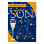 21ro Hijo del cumpleaños - vidrio de Champán Tarjeta