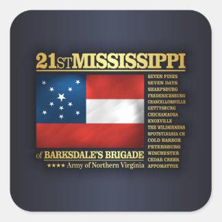 21ro Infantería de Mississippi (BA2) Pegatina Cuadrada