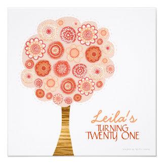 21ro Invitación anaranjada del árbol del flor de
