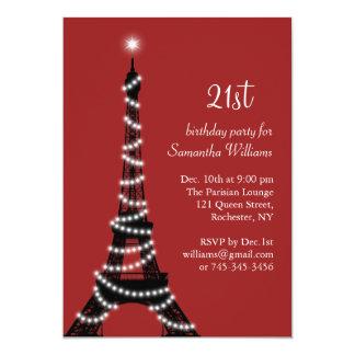 21ro Invitación chispeante de la torre Eiffel del