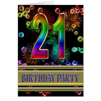 21ro Invitación de la fiesta de cumpleaños Felicitación