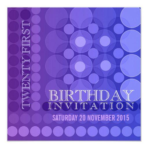 21ro Invitación enrrollada púrpura del cumpleaños Invitación 13,3 Cm X 13,3cm