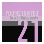 21ro Invitaciones de la fiesta de cumpleaños {púrp Anuncios Personalizados