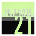 21ro Invitaciones de la fiesta de cumpleaños {verd Comunicado Personalizado