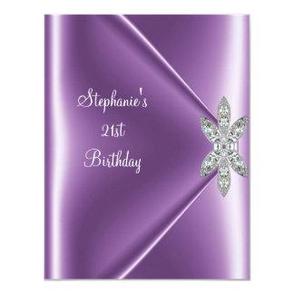 21ro Joya de color de malva púrpura del diamante Invitaciones Personalizada