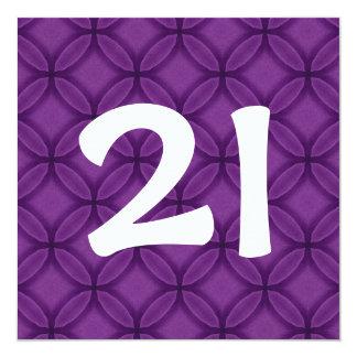"""21ro La púrpura de la fiesta de cumpleaños Invitación 5.25"""" X 5.25"""""""