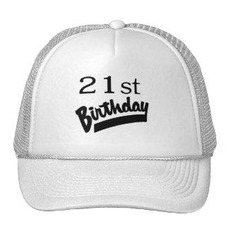 21ro Negro del cumpleaños Gorras De Camionero