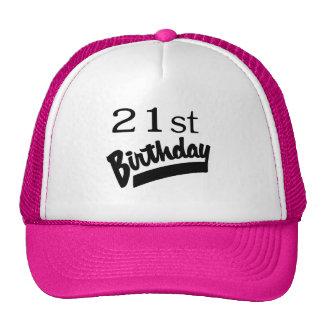 21ro Negro del cumpleaños Gorro De Camionero