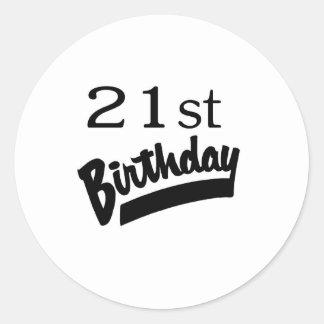 21ro Negro del cumpleaños Etiqueta