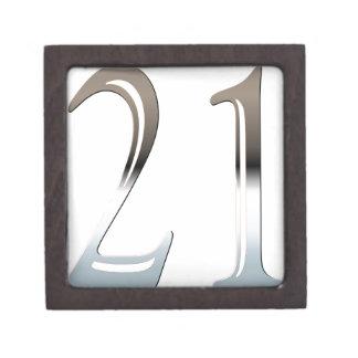 21ro Número de plata 21 del cumpleaños Cajas De Recuerdo De Calidad