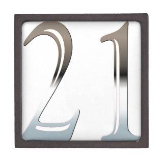 21ro Número de plata 21 del cumpleaños Cajas De Regalo De Calidad