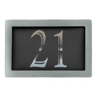 21ro Número de plata 21 del cumpleaños Hebillas De Cinturón Rectangulares