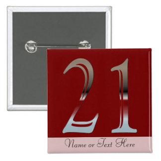21ro Número de plata 21 del cumpleaños Pin