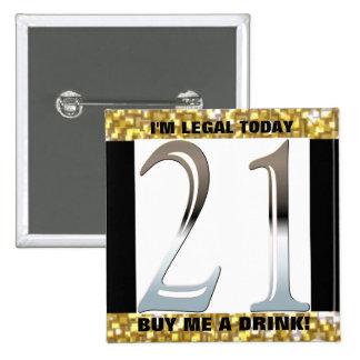 21ro Número de plata 21 del cumpleaños Pin Cuadrado